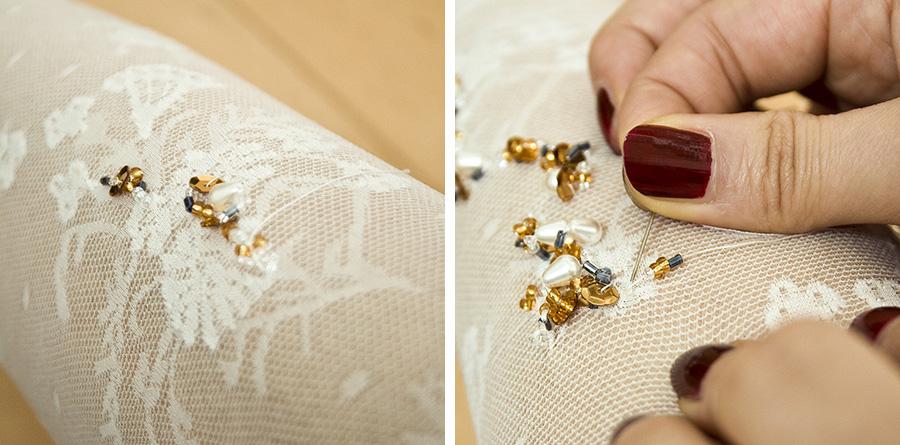 Пришивать бисер ткани