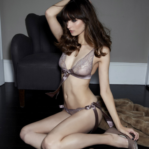 Fleur of England Truffle boudoir bra and bowtie brief
