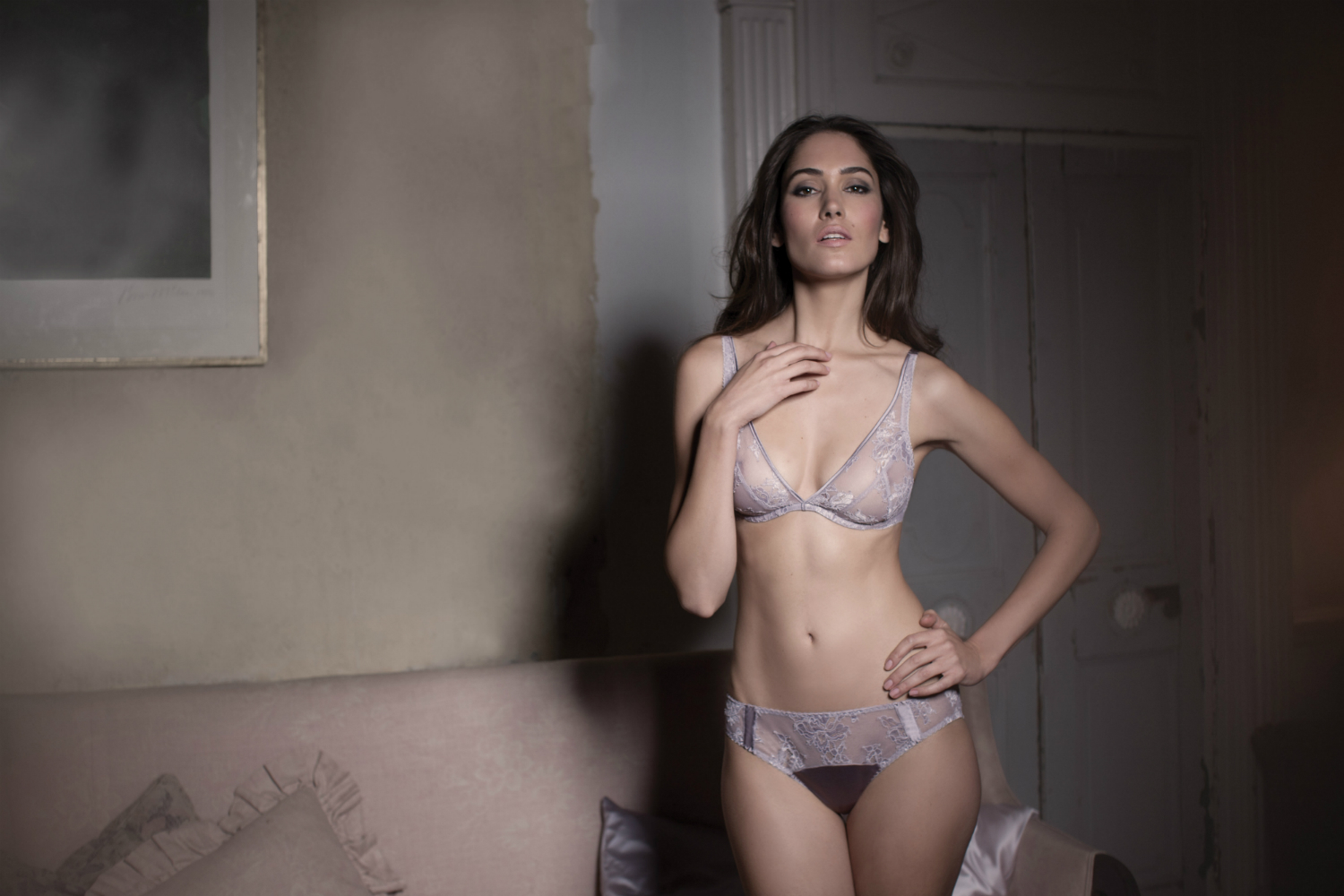 Heather Lace Plunge Bra and Brief-1500