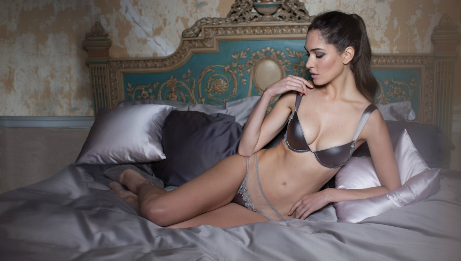 Heiress Padded Plunge Bra and Brief-1500