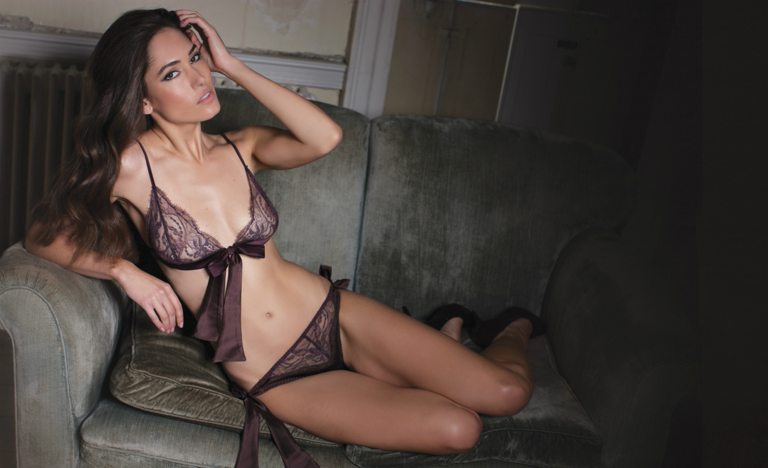 Fleur of England Hot Chocolate Boudoir Bra and Bow Tie Brief
