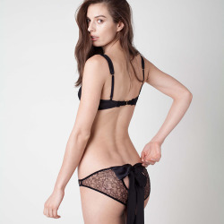 Damaris, Panther Lace Bow Back Knicker with Black Silk Tails, £114