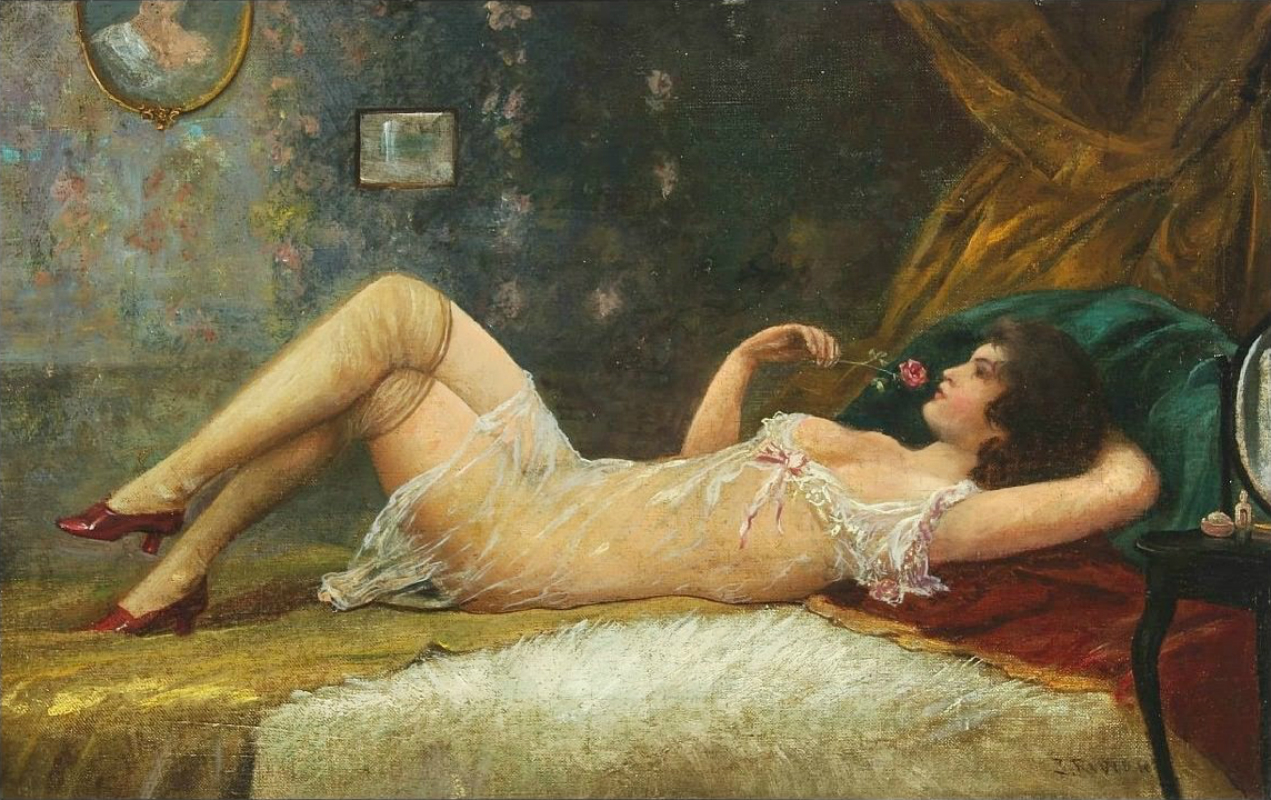 Boudoir with reclining young woman