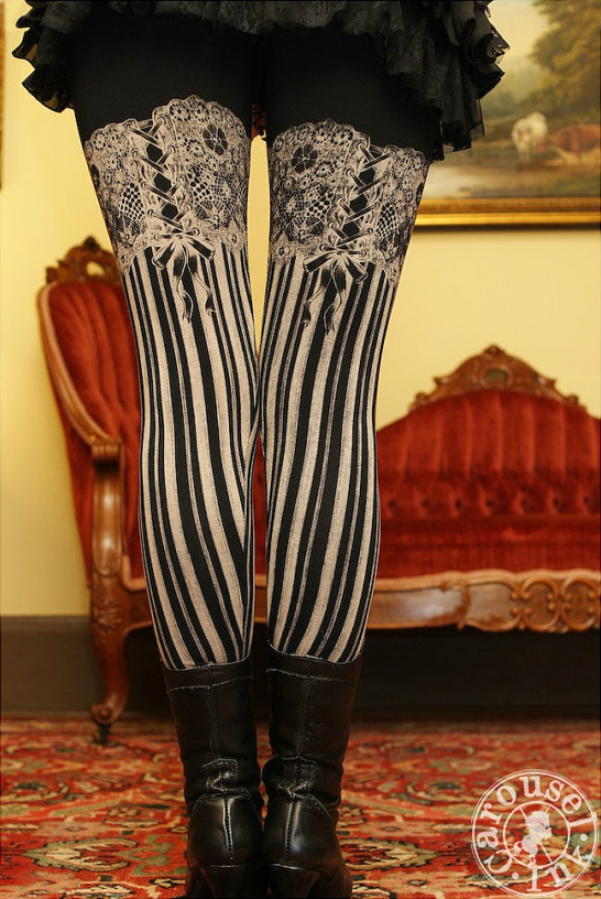 Carousel Ink Garter Leggings - Burlesque