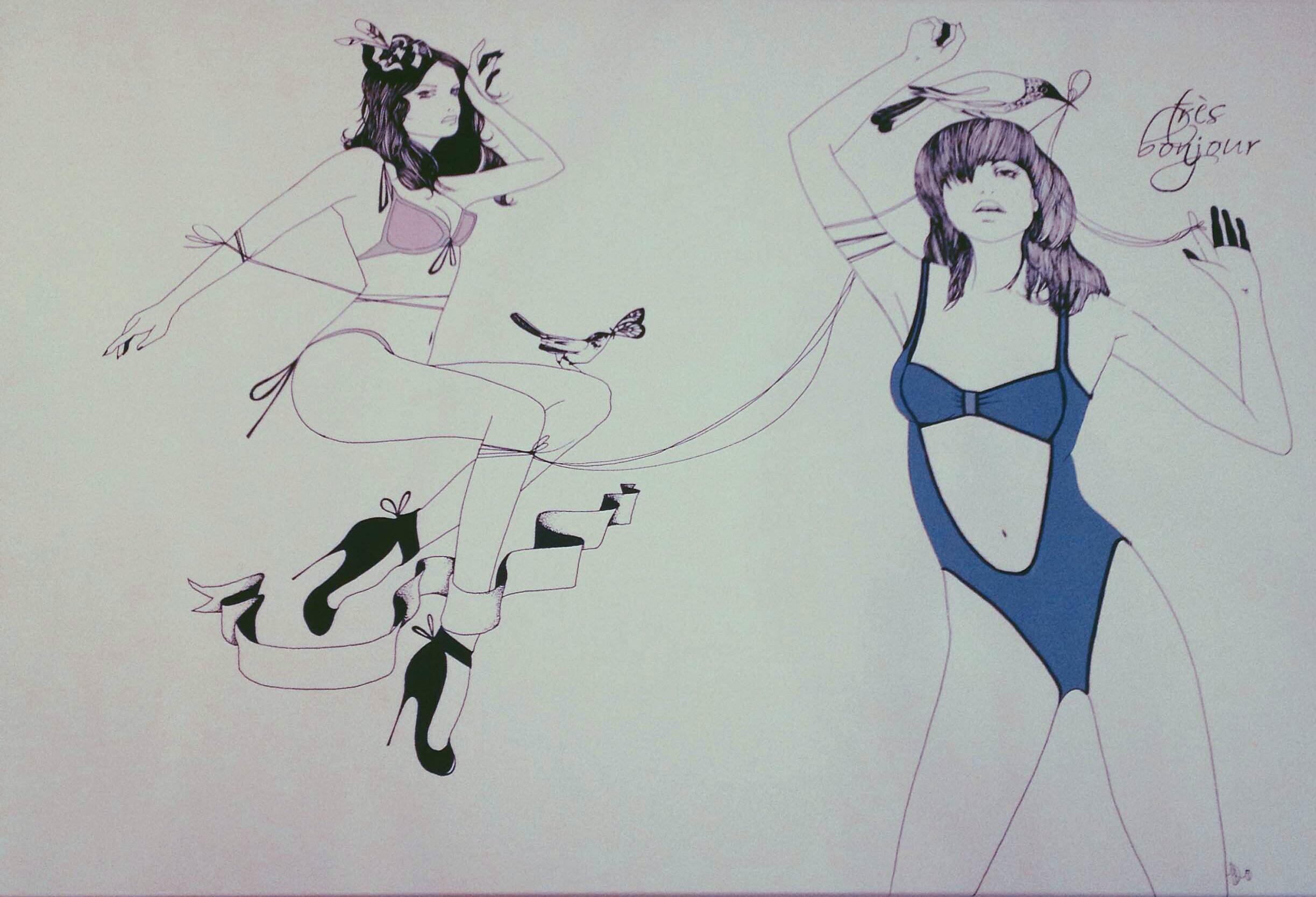Иллюстрация в шоуруме Tres Bonjour