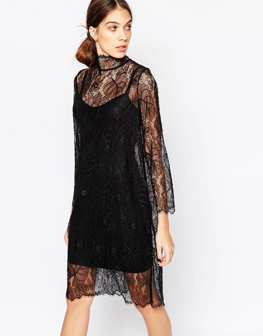 Полупрозрачное свободное платье из кружева Ganni