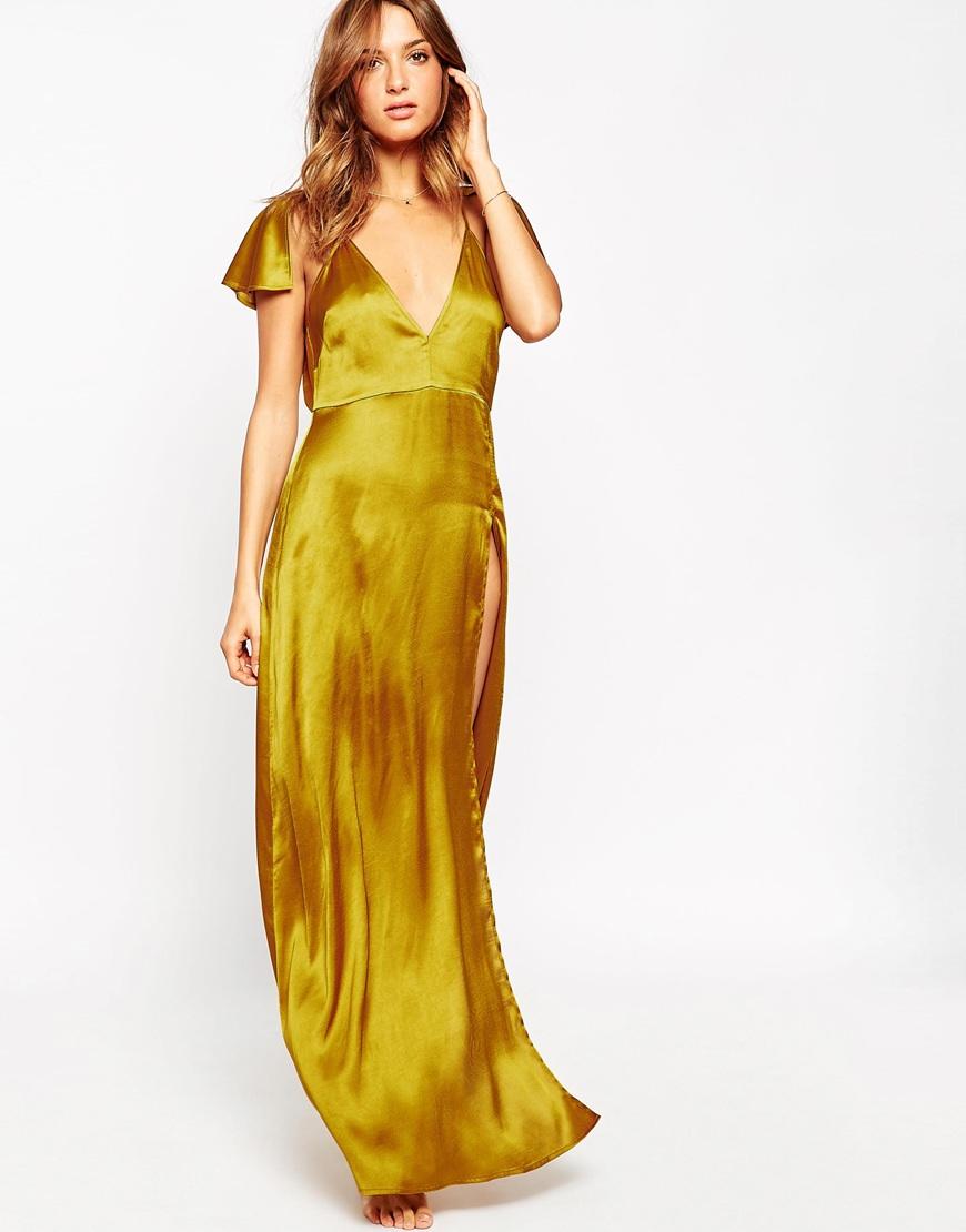Атласное платье-сорочка  ASOS Kate