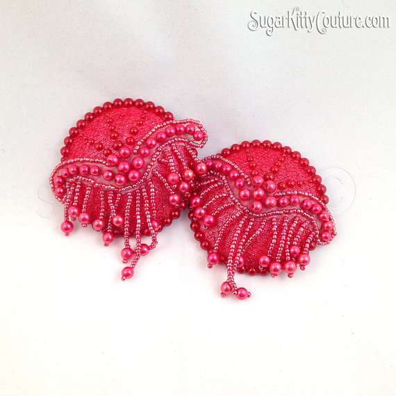 Ruby Red Flatback BEaded Pearl Nipple Pasties