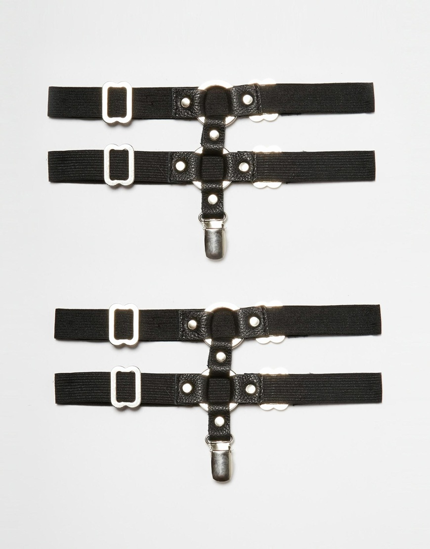 Черные кожаные подвязки для чулок JAKIMAC