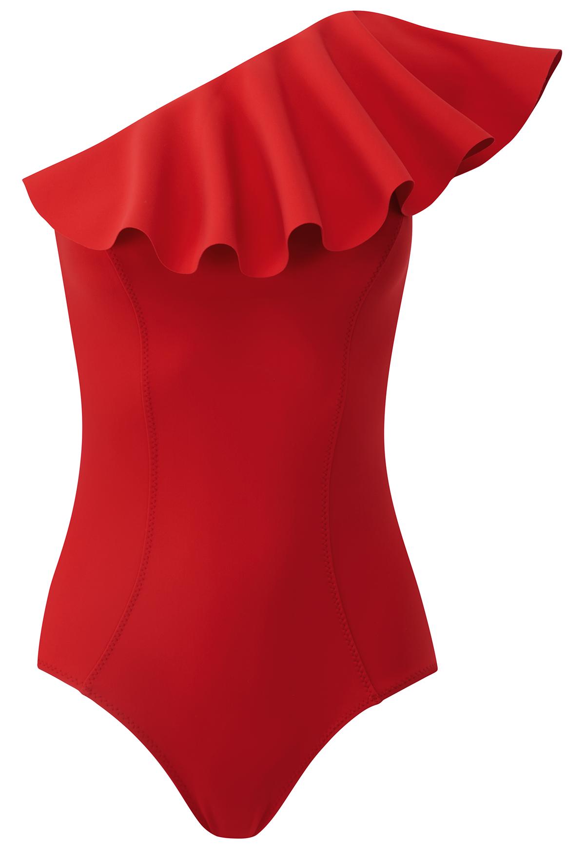 Слитный купальник Arden Flounce от Lisa Marie Fernandez, $430 (*крупная декоративная «волна»)
