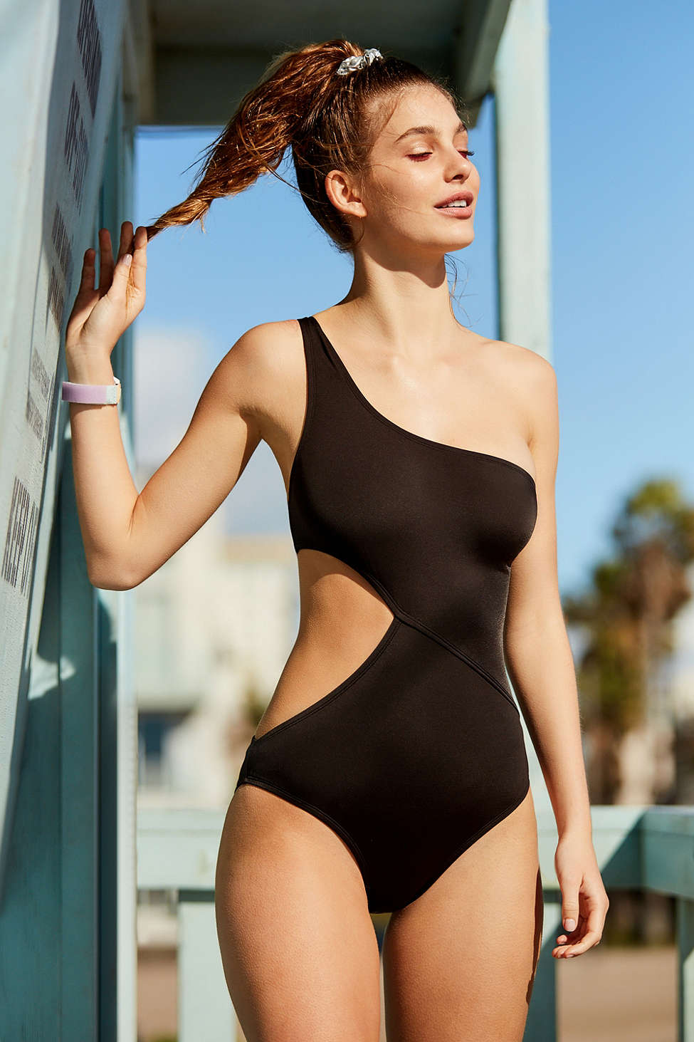 Out From Under One Shoulder One-Piece Swimsuit $69