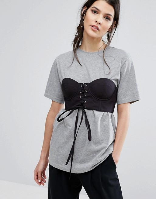 Oversize-футболка с корсетом Neon Rose, 2 461,53 руб.