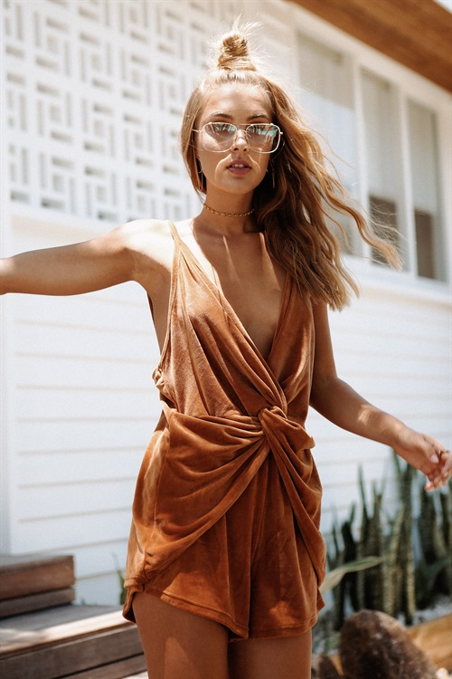 Saboskirt Draped Velvet Playsuit, $48