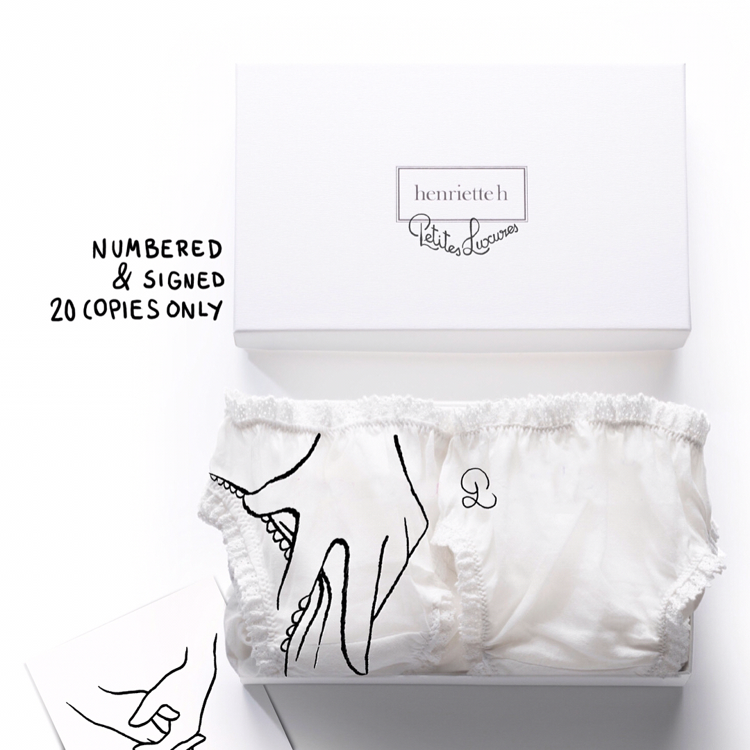 """Иллюстратор Petites Luxures и бренд Henriette сделали совместный проект выпустив ограниченную серию трусиков с эротической вышивкой. Petites Luxures x Henriette H Le coffret """"Jeu de mains"""""""