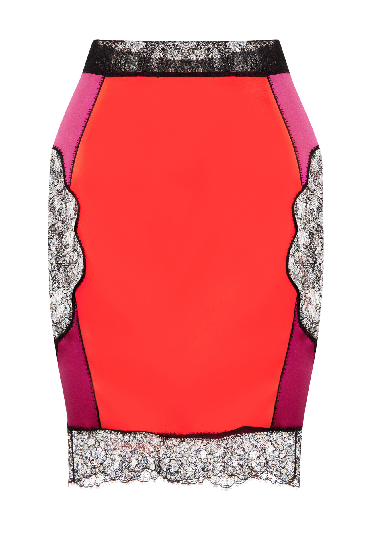 La Perla SLIPDRESS FUCHSIA & RED SILK PATCHWORK SLIP SKIRT