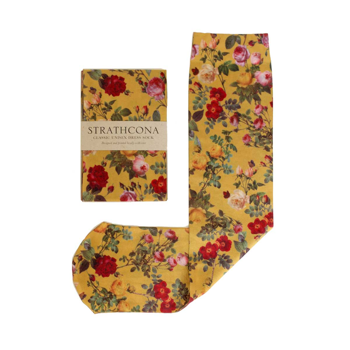 Strathcona Mustard Rose Dress Socks $36.00