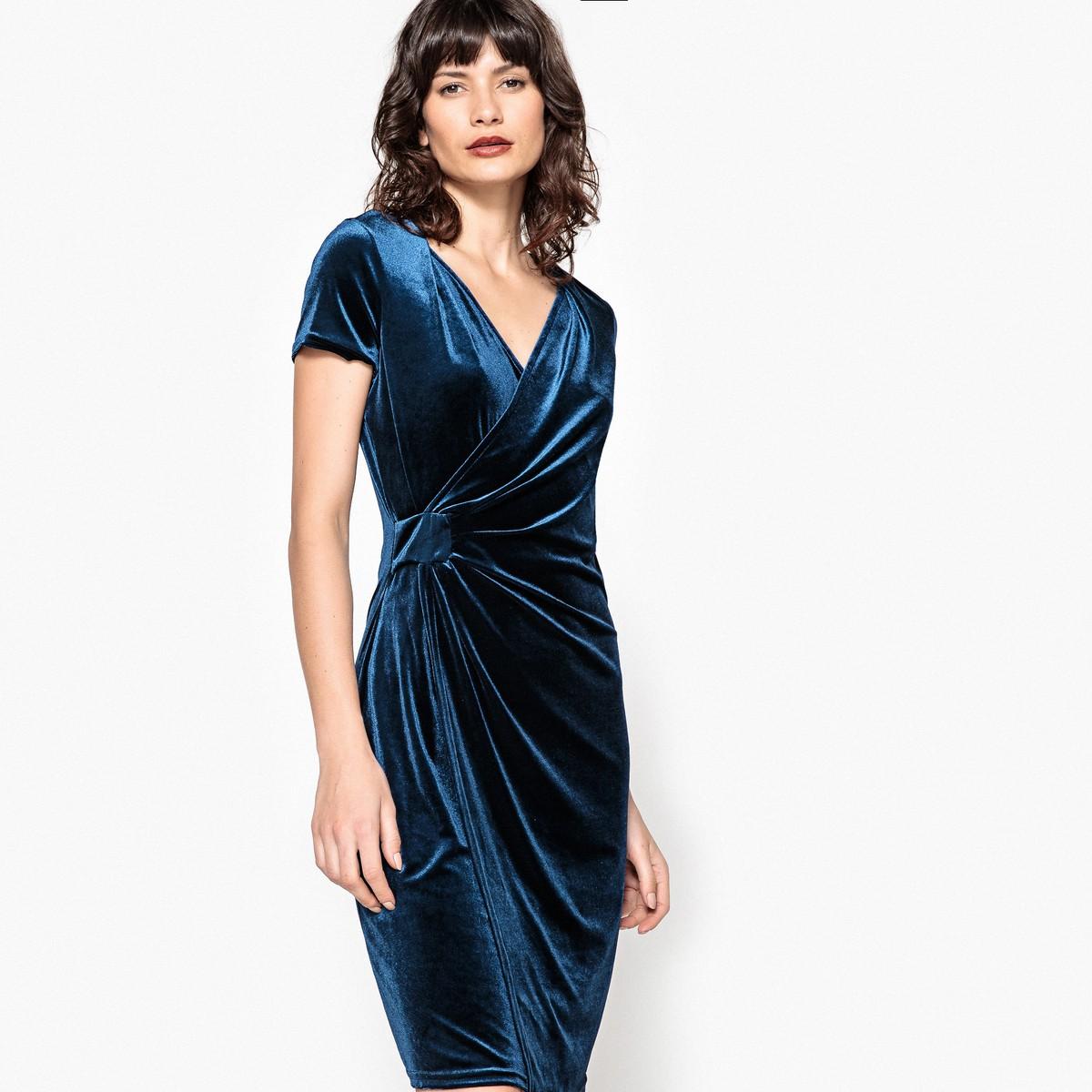 La Redoute Collections Платье из велюра с драпированым эффектом