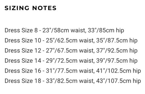 Таблица размеров What Katie Did для пояса для чулок Liz