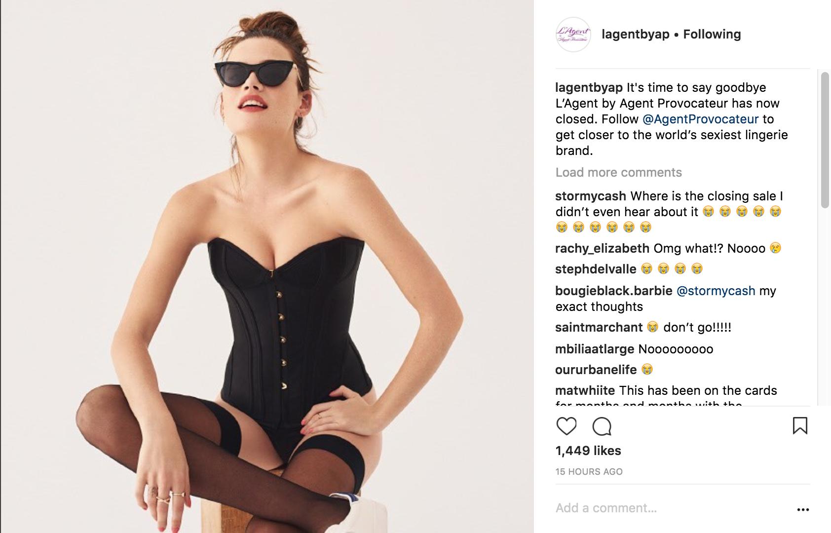 Бренд нижнего белья L'Agent by Agent Provocateur объявил о своём закрытии