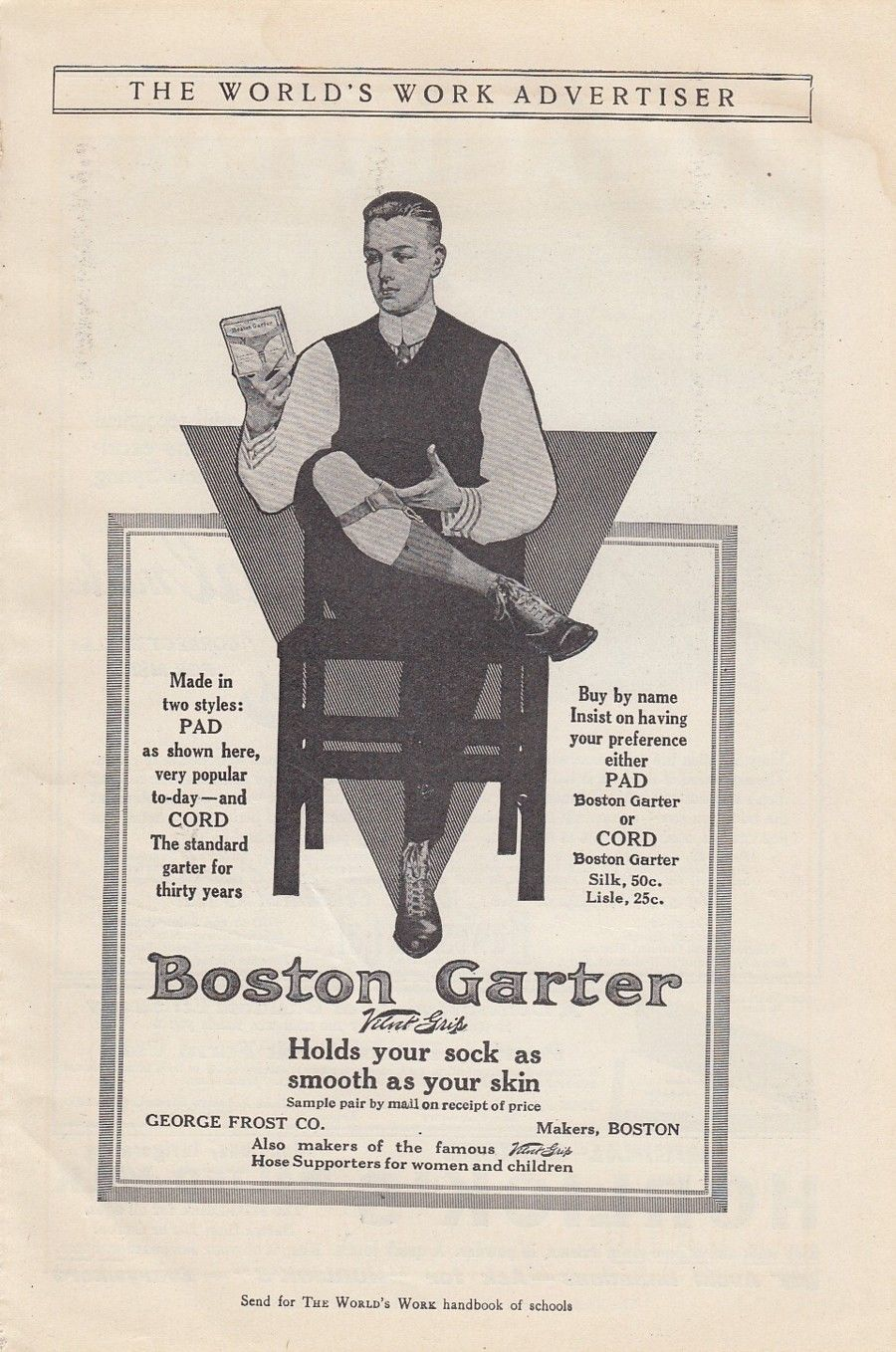 World's Work Magazine (April, 1912), Boston garters adv by George Frost Co.