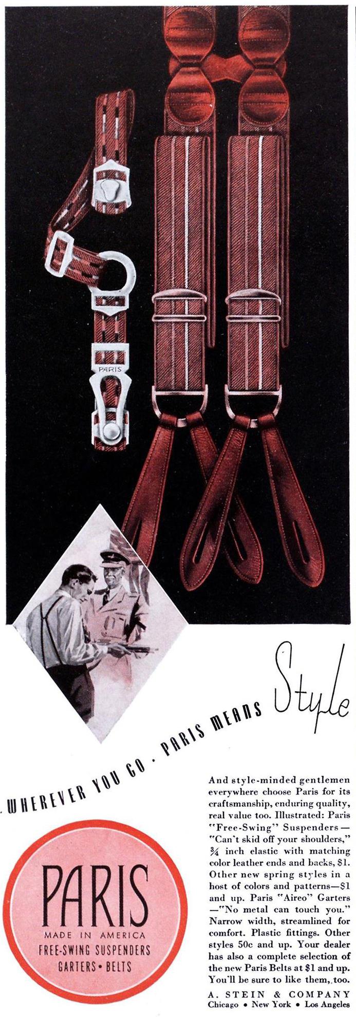 Esquire, 1 апреля 1941 года. Реклама подтяжек для носков Paris