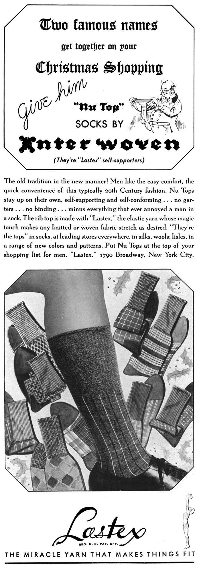Esquire 1 декабря 1936 года. Реклама носков с ластексом