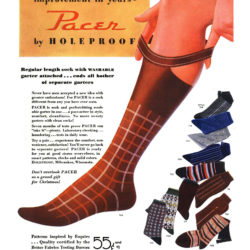 "Esquire, December 1, 1935. Advertising of hybrid socks with built-in ""garter"""