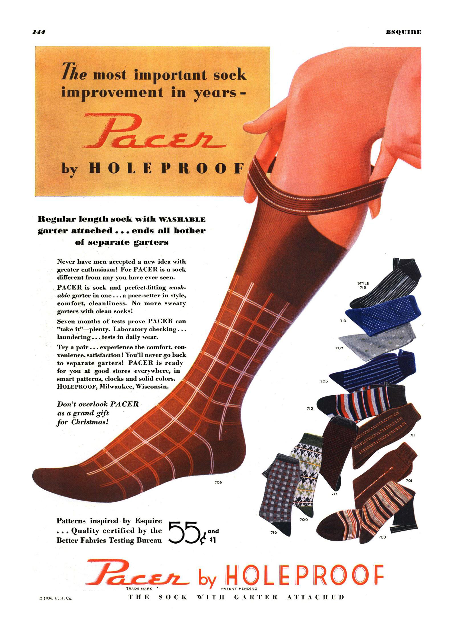 "Esquire, December 1, 1935. Advertising of hybrid socks with built-in ""garter"""