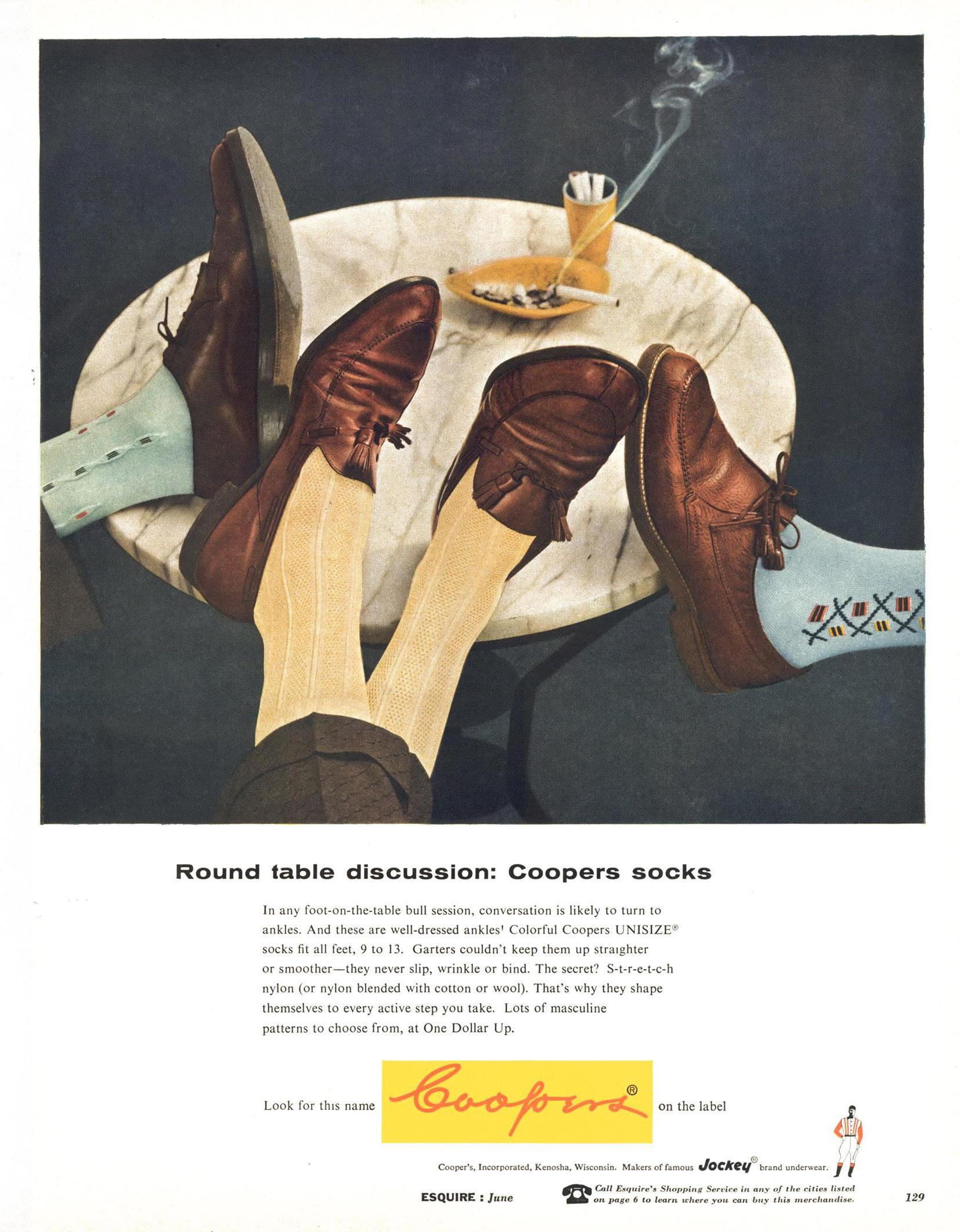 Esquire, June 1, 1956. Cooper's socks advertising