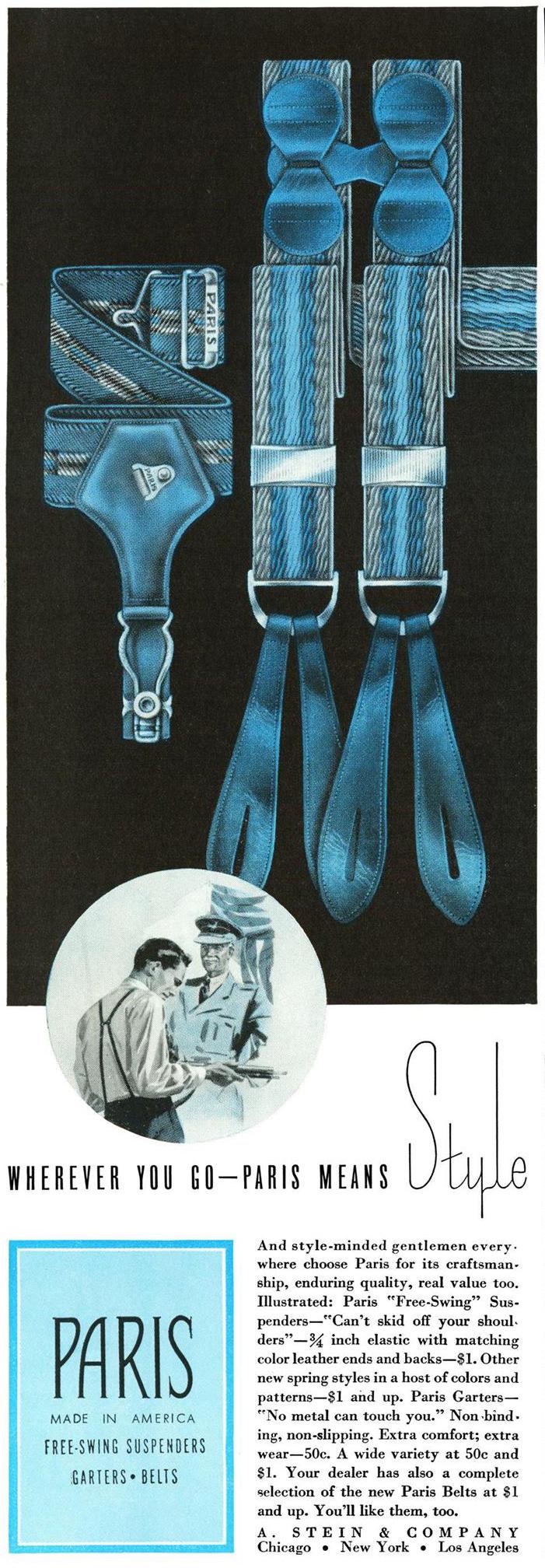 Esquire, 1 марта 1941 года. Реклама подтяжек для носков Paris