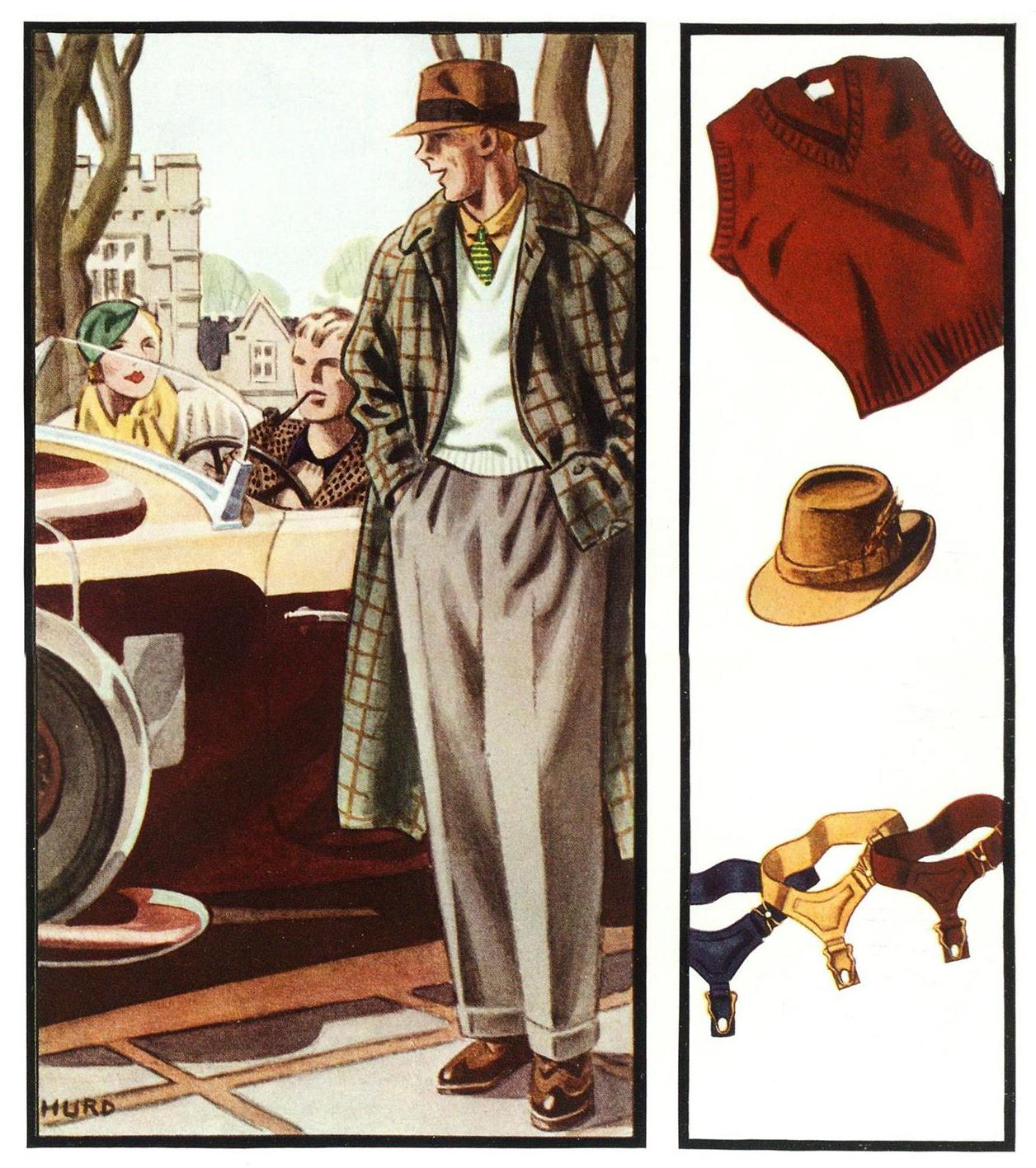 "Esquire, 1 марта 1934 года. Иллюстрация к статье о моде выпускников колледжей ""What? Garters On A Page Of College Fashions? Yes, Sir"""