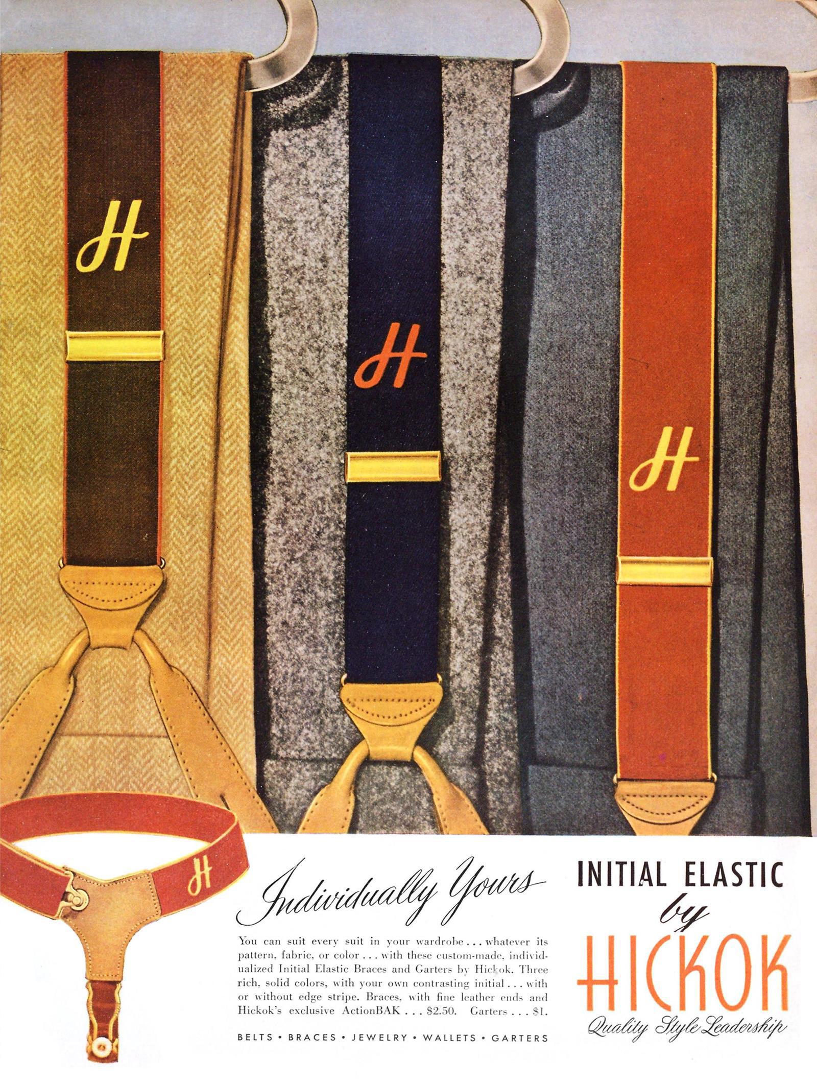 Esquire, 1 мая 1947 года. Реклама подтяжек для носков Hickok. Кастомизированные, с возможностью вышить инициалы.