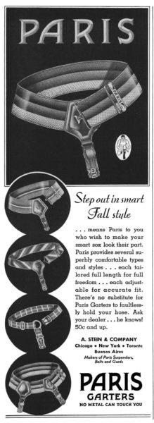 Esquire, 1 октября 1937 года. Реклама гартеров Paris от A. Stein & Company Paris Garters