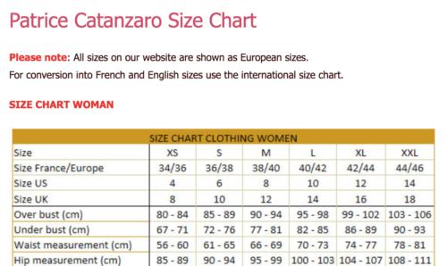 Таблица определения размеров одежды Patrice Catanzaro из магазина femaleandpartners.com