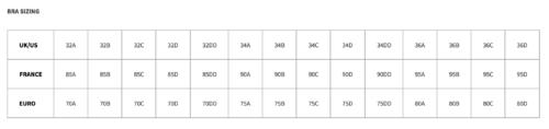 Таблица размеров Tatu Couture