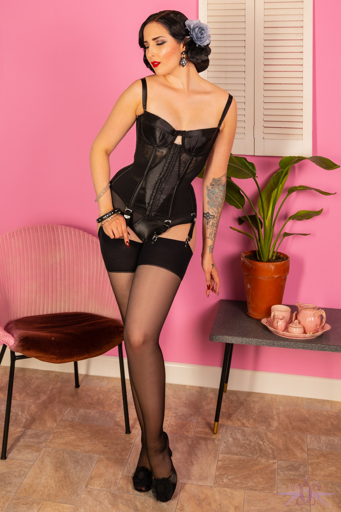 What Katie Did Contrast Black Seamed Stockings, £9.95