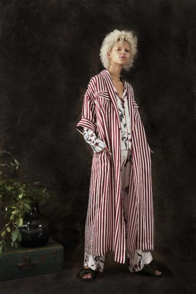 Violet and Wren Crimson Stripe Longline Kimono