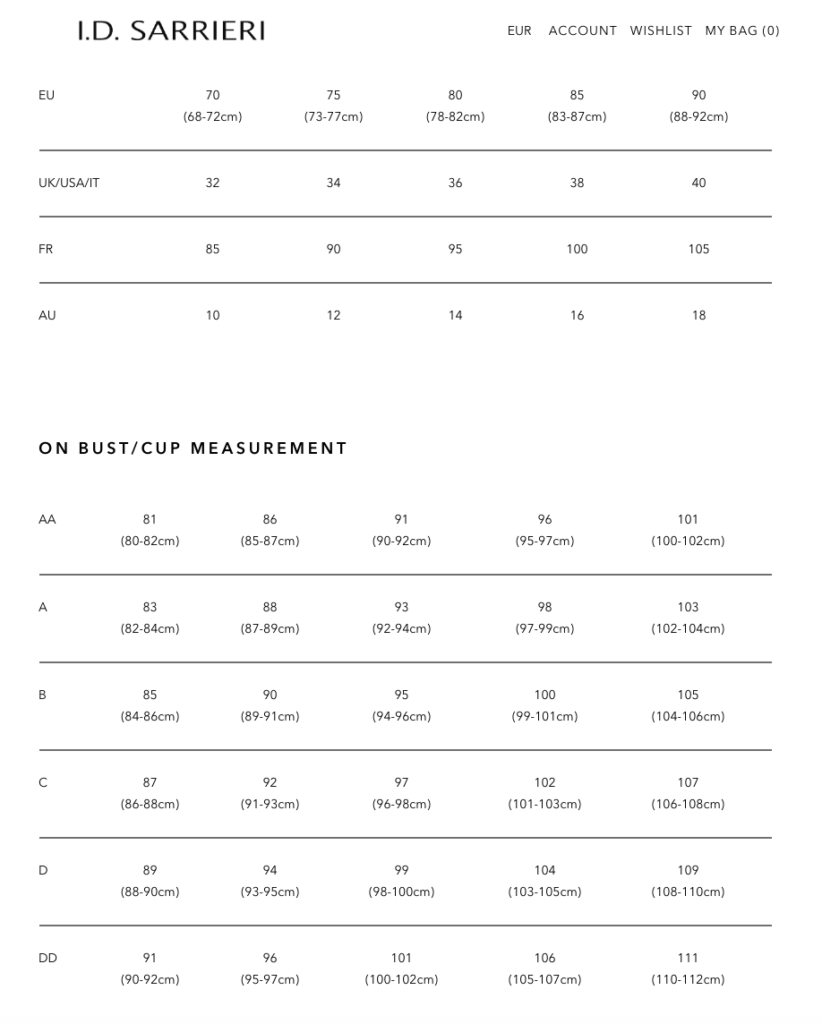 Таблица определения размеров I.D.Sarrieri