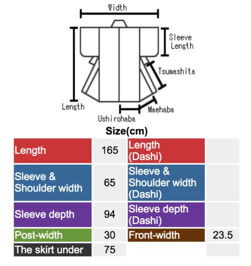 Пример определения размеров кимоно с сайта net-shinei.co.jp