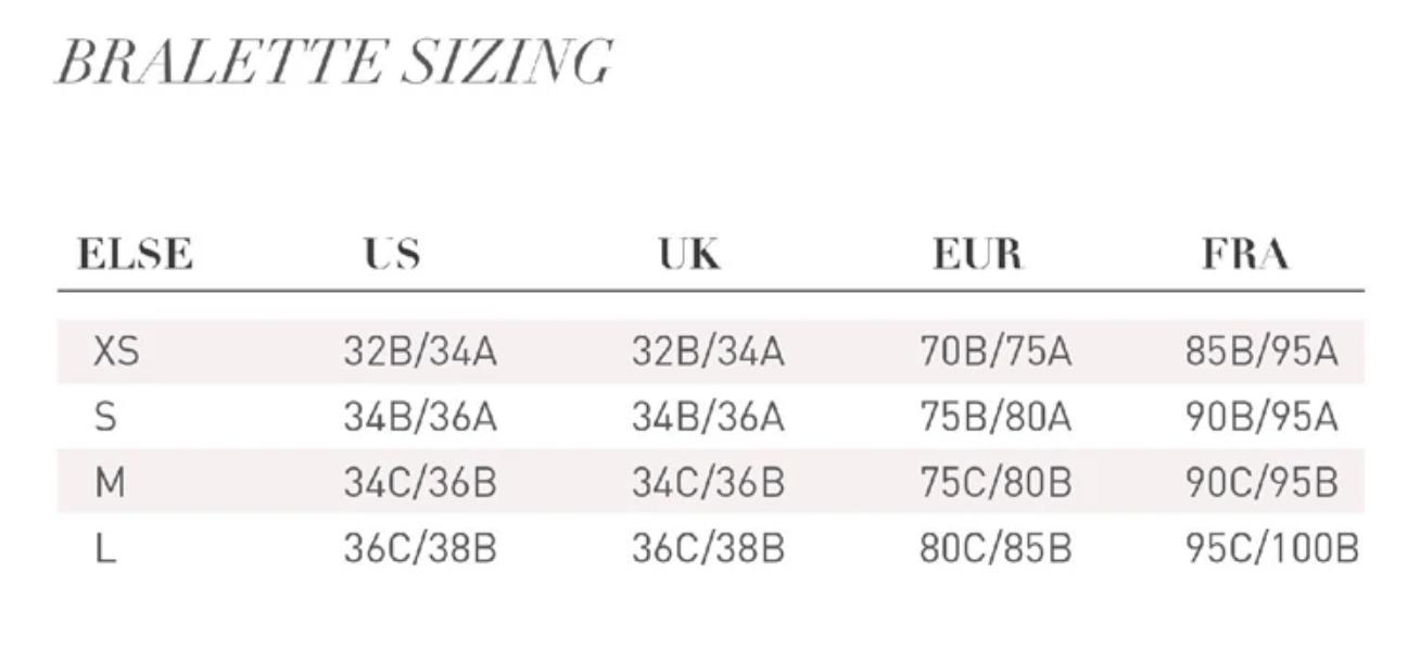 Таблица определения размеров белья Else