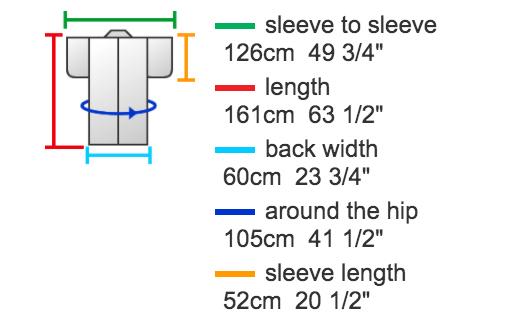 Картинка с пояснением размеров к моему кимоно