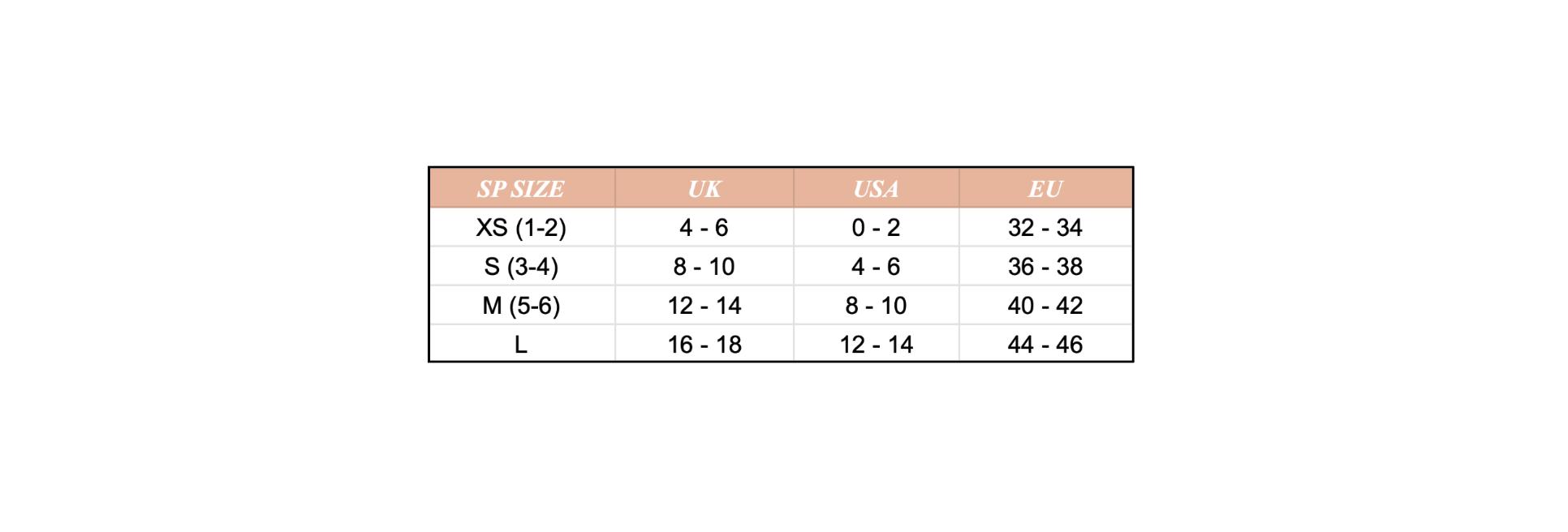 Таблица определения размеров трусов Studio Pia