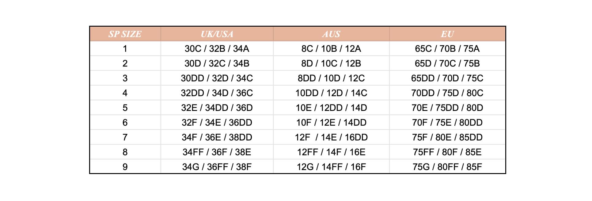 Таблица определения размеров бюстгальтеров Studio Pia